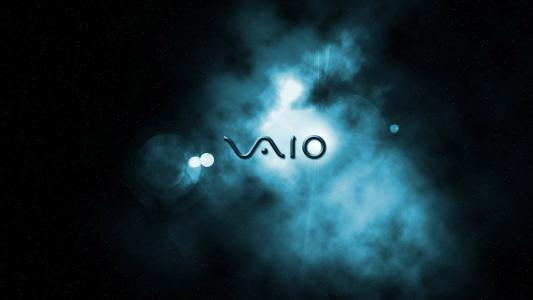 Sony Vaio logo, space background wallpaper