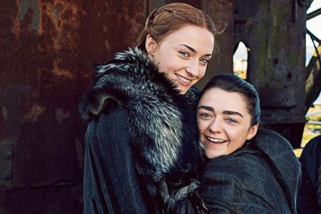 Sansa Stark,Sophie Turner,Arya Stark,Maisie Williams,权力游戏,Season 7